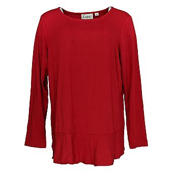 Linea door Louis Dell'Olio Women's Plus Top Soft Peplum Knit Top Red A302559