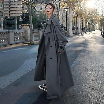 Loose Oversized X-long Women's Trench Coat, Double-breasted, Belted Lady Cloak