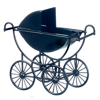 Dolls House Black Metal Baby Pram Old Fashioned 1:12 Meubles miniatures de pépinière