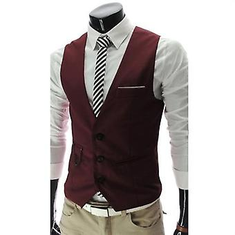 Men Slim Fit Suit Vest Waistcoat Gilet Homme Casual Sleeveless Formal Business