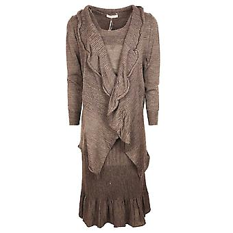 Evalinka Grey 3 Piece Wool Blend Knitted Suit With Skirt, Cardigan & Camisole
