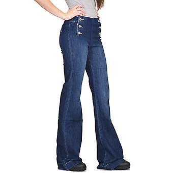 Long Leg Wide Flared Stretch Jeans - Dark Blue