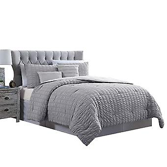 Valletta 5 Piece Stitched Square Pattern Queen Size Comforter Set The Urban Port,Gray