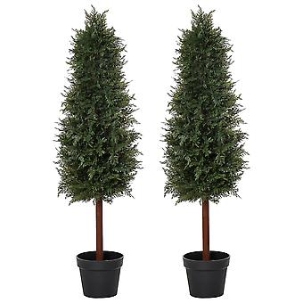 Outsunny Set Of 2 120cm/4FT Artificial Cedar Pine Trees Decorative Cypress Plant Fake Conifer Tree w/ Heavy Pot Indoor Outdoor Home Office