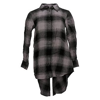 Lisa Rinna Collection Women's Top Plaid Hi-Low Hem Gray A366021