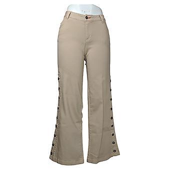 Peace Love World Women's Jeans 2 Petite Garment Dyed Button Beige A347443