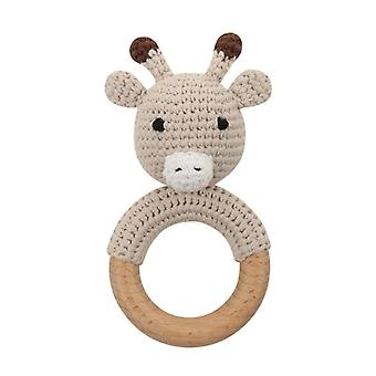 Baby Wooden Teether Crochet Cartoon Baby Rattle Toy