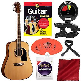 Washburn المتدرب 5 سلسلة ad5k dreadnought الغيتار الصوتية مع الغيتار لالدمى ، وسلاسل الغيتار ، كليب على موالف ، وحزمة كاتب