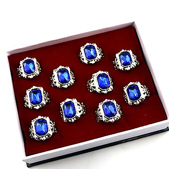 10pcs Black Butler Sebastian Charloud Dome Sapphire Blue Ring Set