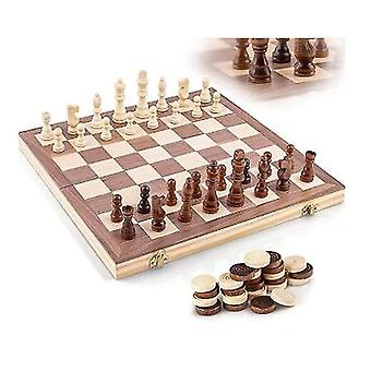 Wooden Chess Board, Foldable, With Indoor Storage Space