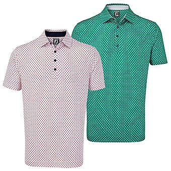 Footjoy Mens Stretch Lisle Palm Print Wicking UV Light Polo Shirt