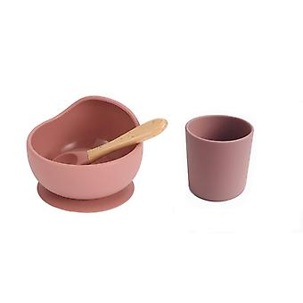 Baby Silicone Dinnerware Silicone Feeding Set Soft Cups Wooden Suction Food