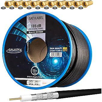FengChun Set: 25m Koaxial SAT Kabel 135db Schwarz + 10x F-Stecker vergoldet | CCS (Stahl-Kupfer)