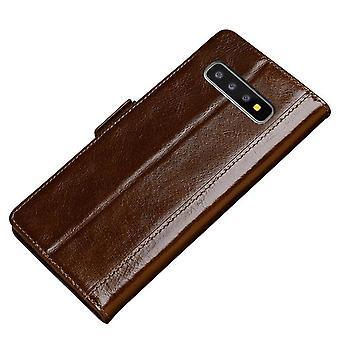 Genuine leather wallet case card slot for samsung s10 dark brown no3506