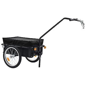 vidaXL polkupyörän perävaunu/käsivaunu 155 x 61 x 83 cm teräs Musta