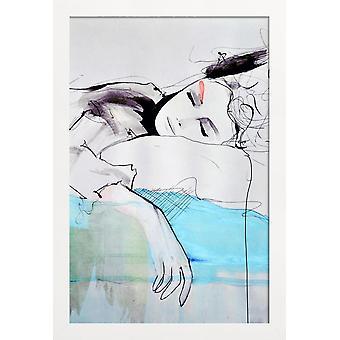 JUNIQE Print - Maddelina - Folkaffisch i blått & Svart