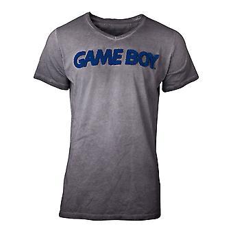 Nintendo - Logo 3D sur fond lavé à l'acide T-Shirt X-Large pour hommes - Gris