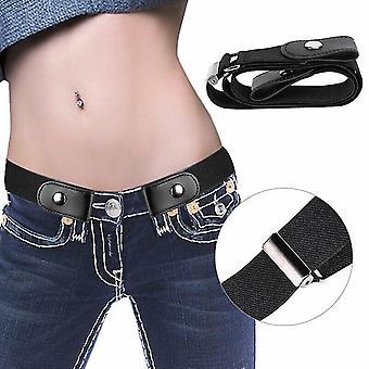 Pásek bez přezky Neviditelný elastický pasový pásek Nastavitelný strečový pás pro džínové kalhoty (černý)