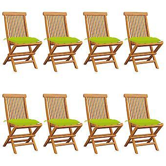 vidaXL Garden Chairs with Light Green Cushions 8 Pcs. Solid Wood Teak