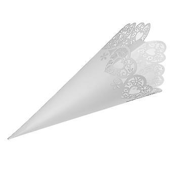 10 Confeti blanco o conos de favor - Corazón láser