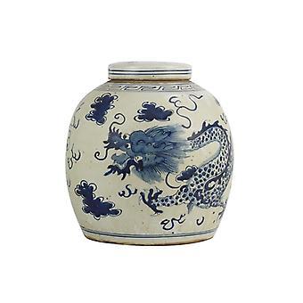 Grzywny Asianliving chiński imbir jar smok ręcznie malowane niebieski W29xH29cm