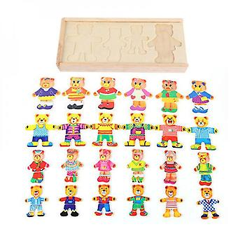 Shape Matching Puzzle Bear Clothes Match Game Learning Toy Baby Brain Development Jigsaw Parent-children Interaction Toy