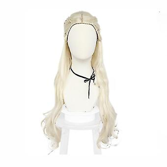 spill av troner parykker halloween daenerys targaryen parykk cap hvit