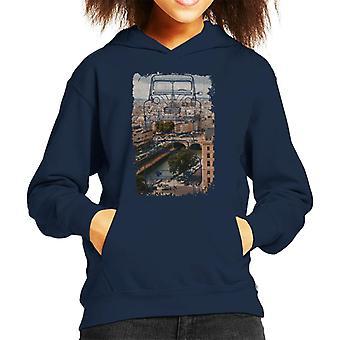 Citroen 2CV Retro ritning över Paris Kid's Hooded Sweatshirt