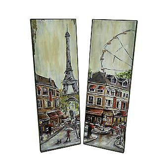 2 Pc. Foiled Eiffel Tower and Ferris Wheel Wall Hanging Set