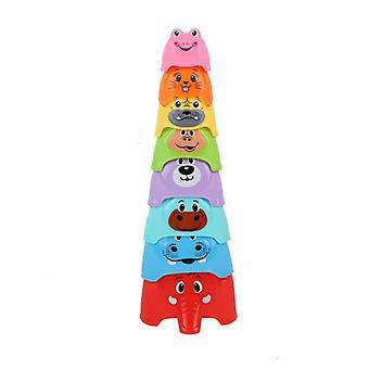 8db Baby Összecsukható Oktatási Játékok Csésze Korai oktatás Baby Figure Stackable Rainbow Cup Játékok