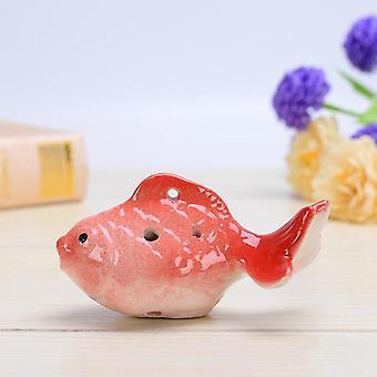Anfänger Ocarina Goldfisch Form Cartoon Muster Studenten Geburtstag Geschenke Instrumente Souvenir (Rot)