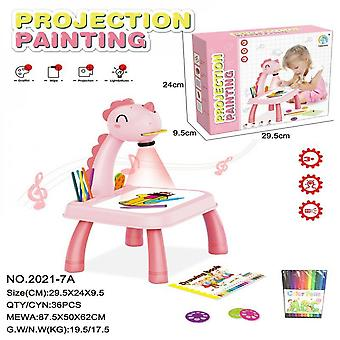 Lanbena Children's Intelligent Projection Painting Machine Enlightenment Early Education Drawing Board Table Color Drawing Board Children Graffiti Whi