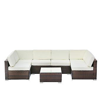 7pcs Outdoor Sofa Set With Tea Table&washable Couch Cushions