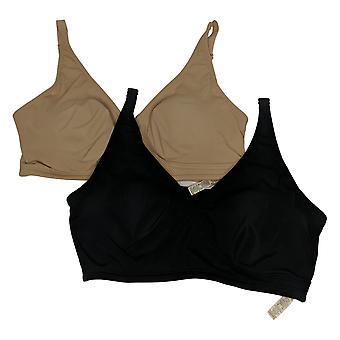 Rhonda Shear SzL 2-pack Butterknit Wrap Removable Pads Beige Bra Set 761081