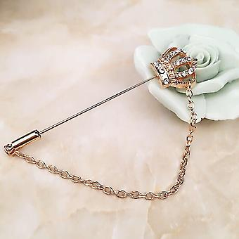 Stereo Hollowed-out Diamond Crown Chain Brooch Shirt Suit Accessories