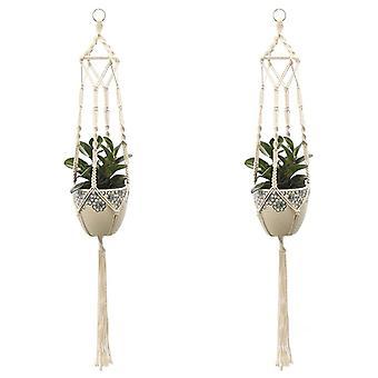 Darmowade Set Of 2 Macrame Hanging Baskets Cotton Rope