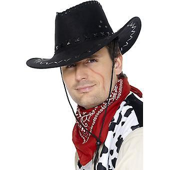 בוקרים האט כיפת זמש שחור עור אופטיקה כובע קאובוי מערבי