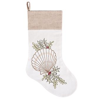 Scallop Seashell with Holly Christmas Holiday Stocking Linen Look