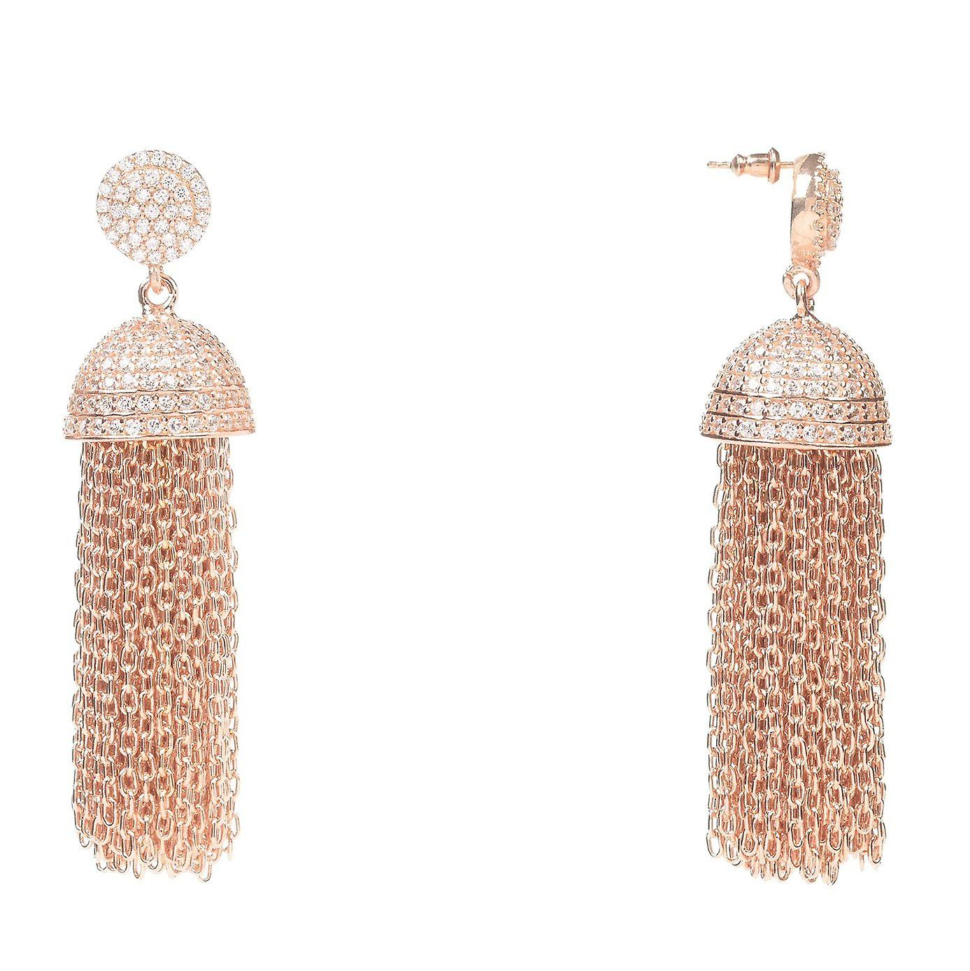 925 Sterling Silver Chain Tassel Dangle Drop Earring Rosegold with CZ