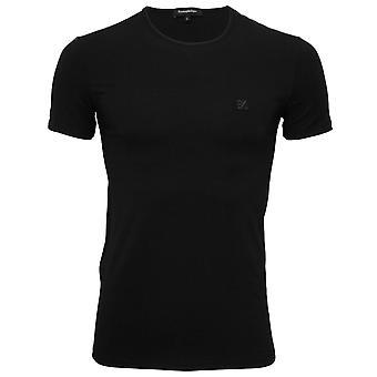 Ermenegildo Zegna Stretch Cotton gola camiseta, preto