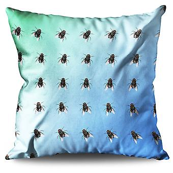 Fly pattern Bug Animal Linen Cushion 30cm x 30cm | Wellcoda