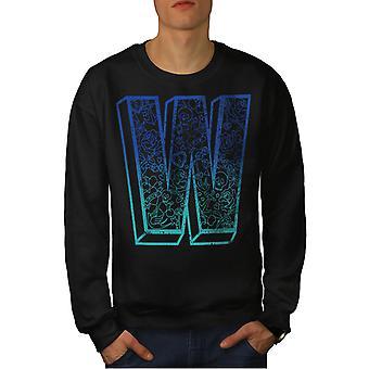 Wellcoda Blue Men BlackSweatshirt   Wellcoda