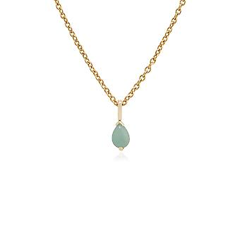Classic Pear Green Jade Claw Set Single Stone Pendant Necklace in 9ct Yellow Gold 123P0117279