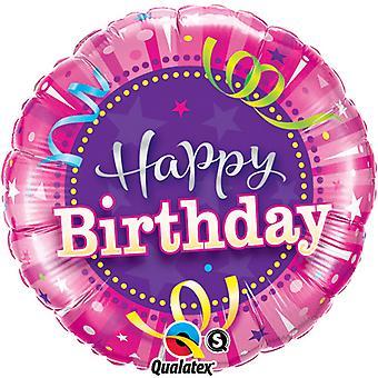 QUALATEX ronde chaude rose joyeux anniversaire de 18 pouces feuille ballon
