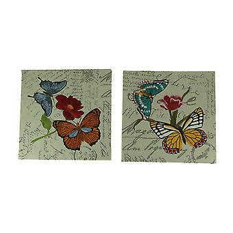 Butterfly Garden Embroidered Postcard Print Canvas Wall Decor Set of 2