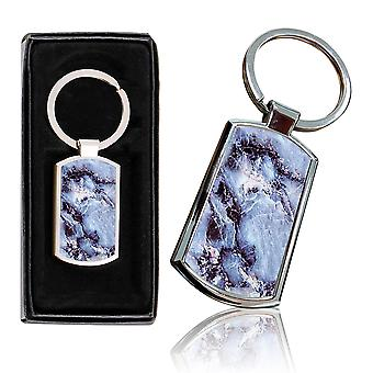 i-Tronixs - Premium Marble Design Chrome Metal Keyring with Free Gift Box (2-Pack) - 0039