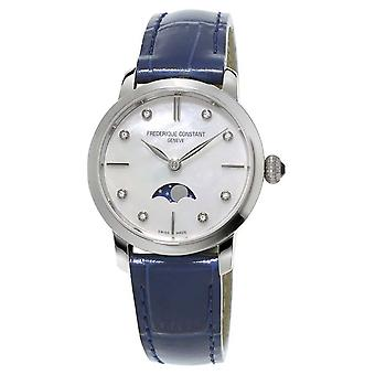 Frederique Constant Womens Slimline Moonphase Diamond Set Blue Leather Strap FC-206MPWD1S6 Watch
