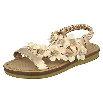 Ladies Anne Michelle Flower Trim Sandals F00065