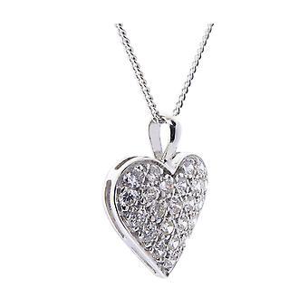 Hvid guld hjerter zirconium vedhæng
