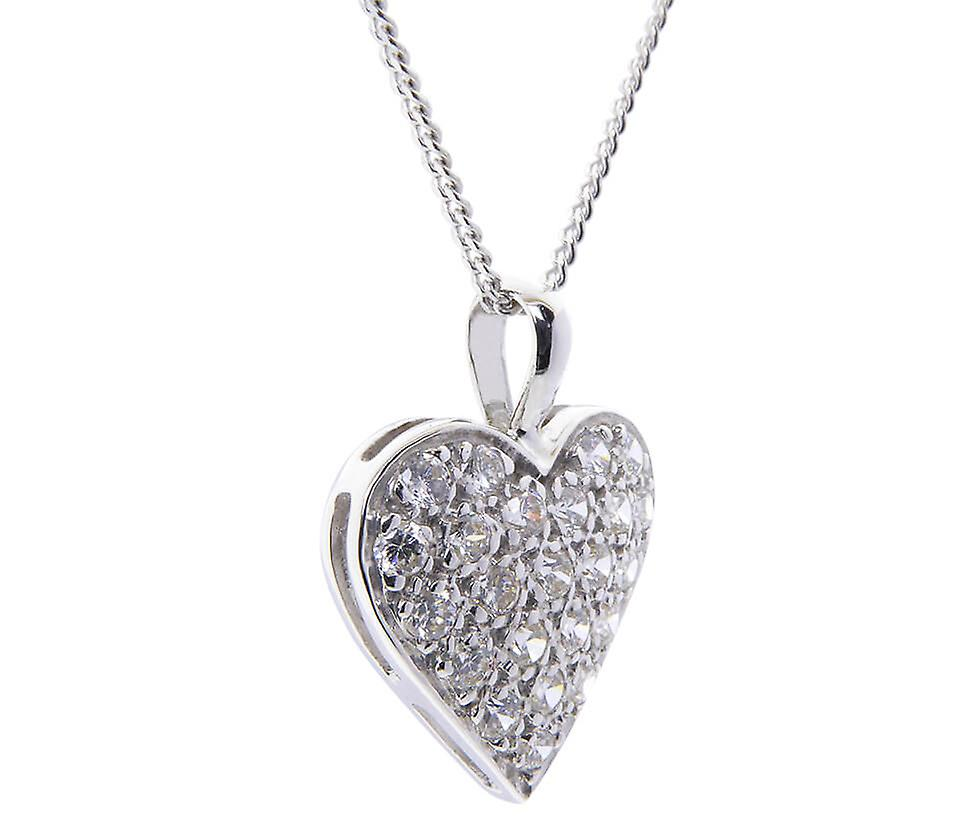 White Gold hearts cubic zirconia pendant